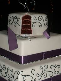 Purple And Black Scroll Square Cake