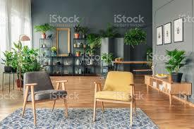 botanische wohnzimmer interieur mit dunklen wänden und holzmöbeln wie sessel tisch bank und schrank stockfoto und mehr bilder botanik