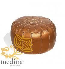 pouf design cuir marocain cuivre un pouf fabriqué et cosu à la