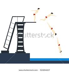 Diving Into Pool Phases Jumping Flat Design Style Vector Illustration Of Young Sport Men Preparing