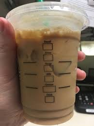 Tall Iced Caramel Latte Which Is Unmarked Because I Made It If Were Marked The Drink Box Would Read L Syrup C And Shots 2