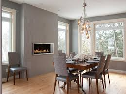 Mid Century Dining Room Light With Gray Wall Paint Color And Electric Fireplace For Contemporary Decorating Ideas