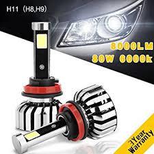 h11 h8 h9 6000k 8000 lumens led headlight bulbs