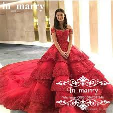 Luxury Ball Gown Michael Cinco Wedding Dresses 2017 Off Shoulder Red Vintage Lace Cathedral Train Tiered
