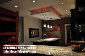 Gibson Board Ceiling Suspended False Design For Modern Kitchen With Red Lights
