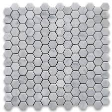 carrara white 1 inch hexagon mosaic tile honed marble from italy