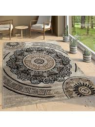 paco home designer wohnzimmer teppich orientalisch mandala motive braun beige klingel