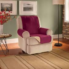 decor burgundy and cream oversized chair slipcover with floor