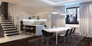 Black White Kitchen Dining Room And Cool Modern Bar Stool Also Chic Gray Fur Rug