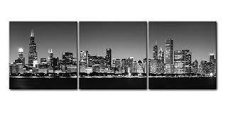 Black And White Canvas Wall Art Painting For Home Decor Chicago Skyline Night Bw Modern Architecture Buildings Business Cityscape