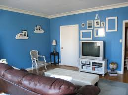 Brown Leather Sofa Decorating Living Room Ideas by Blue Wall Paint Colors For Small Living Room Decorating Ideas With
