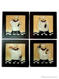 Set Of 4 Fat French Chef Plaques Wall Art Kitchen Decor CT4ND311