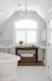 Chandelier Over Bathroom Sink by Full White Attic Bathroom Ideas With Double Sink And White Bathtub