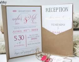 Rustic Wedding Invitation Kraft Pocketfold Vintage Fall