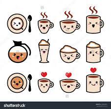 Cute Coffee Cappuccino And Espresso Kawaii Icon Set