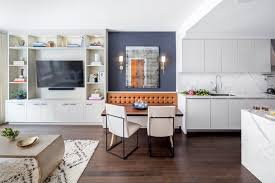 New York Blue Accent Wall With Form Mirrors Dining Room Transitional And Living Marble Countertops