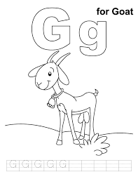 G For Goat Coloring Page With Handwriting Practice