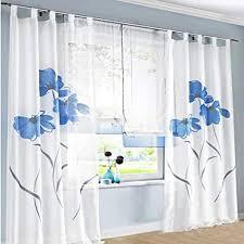 2 stücks gardinenschal gardine print blumen vorhang für wohnzimmer schlafzimmer schlaufenschal breit 150cm hoehe 225cm blau