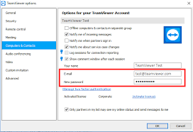 How can I change the email address or password of my TeamViewer