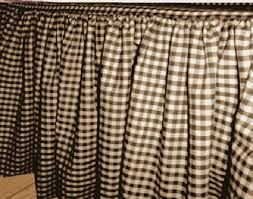 and White Gingham Extra Long Bedskirt