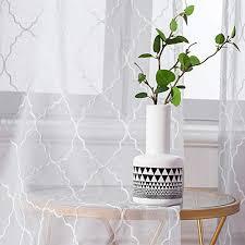 miulee 2er set voile marokko vorhang sheer mit ösen transparente optik gardine ösenschal wohnzimmer fensterschal luftig lichtdurchlässig dekoschal für