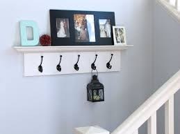 White Hall Shelf With Hooks Plan Design For Hallway Under The Stair Decor