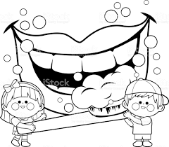 Children Holding A Toothbrush And Brushing Teeth Coloring Book Page Royalty Free Stock Vector