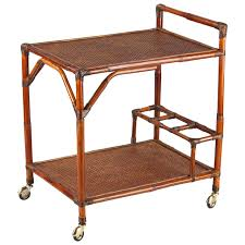 French 1920s Colonial Style Bamboo Bar Cart For Sale