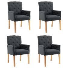 esszimmerstühle mit armlehnen 4 stk grau stoff