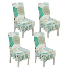 NiceEshop 4 Pcs Modern Stretch Dining Chair Printed Skirt Chair Covers  Removable Washable Spandex Slipcovers For High Chairs