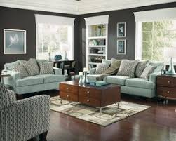 endearing living room furniture sets with blue fabric chesterfield