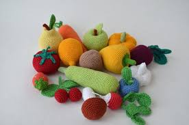 Crochet Knit Vegetables Fruit Kitchen Decor Christmas GiftCrochet FoodSoft ToysHandmade Toy Eco FriendlyLearning Set Of 16 Pcs