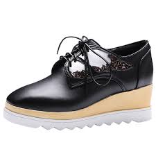 Womens Square Toe Med Wedge Lace Up Oxford Shoes