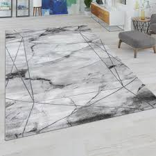 wohnzimmer teppich mit marmor design grau silber