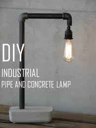DIY Pipe Concrete Industrial Lamp HOMEmade MAKEOVERS