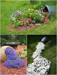 Outdoor Amazing Flower Bed Ideas Encanting Green Round Rustic