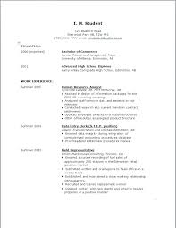 Sample Resume High School Graduate Summer Job Examples