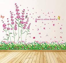 wandsticker4u wandtattoo feld der blumen rosa i wandbilder 114x104cm i wand aufkleber blumen wiese grün gräser lavendel kamille libelle blüten
