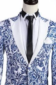 blue white floral pattern tuxedo jacket mens style pinterest