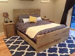 bedroom rustic light gray wooden queen size platform bed with