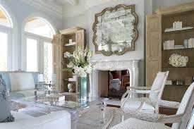 Miami Half Moon Tables With Silver Display And Wall Shelves Living Room Victorian Glass Fireplace