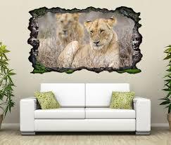 3d wandtattoo afrika löwe löwin tiere savanne ruhe selbstklebend wandbild wandsticker wohnzimmer wand aufkleber 11o143 wandtattoos und