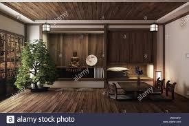 100 Zen Style House Japanese Room Kyoto Zen Style 3D Rendering Stock Photo
