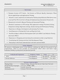 Inspiration Sample Resume Selenium Experience On For