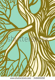 Stylized Abstract Brown Tree Roots Vector Branch Concept