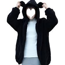 2017 fashion women soft lovely bear ear fleece warm sweatshirts