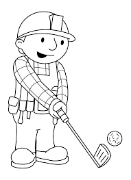 Bob The Builder Play Golf Coloring Picture For Kids