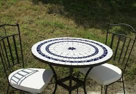 table ronde mosaique fer forge table jardin mosaique ronde 80cm céramique blanche 2 lignes 1