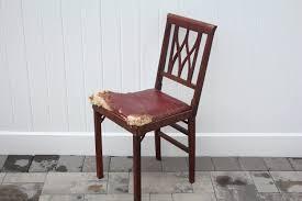 Stakmore Folding Chair Vintage by Vintage Leg O Matic Chair Burgundy Vinyl Seat Cushion Wood Frame