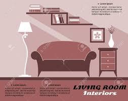 wohnzimmer interieur in braun beige und weiß mit sofa bücherregal le und schrank gegen eine wand mit copyspace für text flache bauform